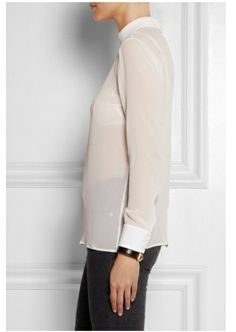 White silk-georgette Turtleneck, buttoned cuffs, slit back Button fastenings at back silk Dry clean Lace Camisole, Sweet Style, White Silk, Saint Laurent, Turtle Neck, Chic, Sweet Fashion, Turtleneck Top, Fabric