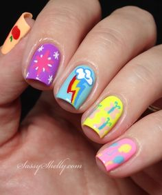 My Little Pony cutie marks nail art   |  Sassy Shelly