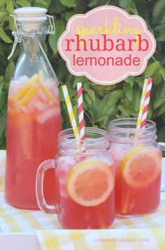 Sparkling Rhubarb Lemonade Sparkling Rhubarb Lemonade a refreshing taste of the unexpected! I would use homemade lemonade instead of the frozen but I certainly understand the time saving aspect of that :) - Fresh Drinks Refreshing Drinks, Summer Drinks, Fun Drinks, Healthy Drinks, Beverages, Healthy Food, Mixed Drinks, Non Alcoholic Drinks, Cocktail Drinks
