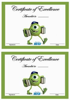 Monsters University Printable Awards Click image below to enlarge and print Summer Camp Crafts, Camping Crafts, Monster University Crafts, University Rooms, Disney High, Monsters Inc, Fourth Grade, Preschool Activities, Awards
