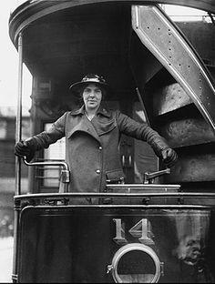 Woman tram driver 1915