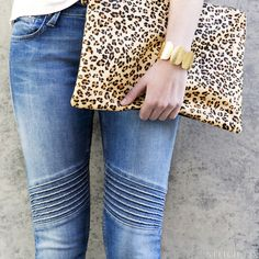 Moto Details  How to wear it:These jeans are a statement on their own.Keep the rest of your look simple with a basic white tee or button-up and play with patterned accessorieslike an animal print clutch for punch.