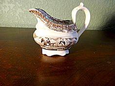 "Early Adams Pottery Cream Pitcher, ""huntsman,"" C. 1830"