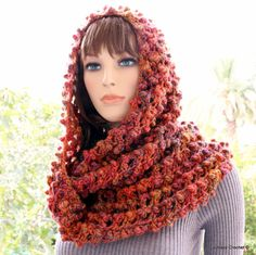 Autumn Crochet Scarf - Women Crochet Circle Scarf - Ready To Ship by CrochetedByLyubava