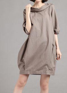 Linen half sleeve Pile collar hoodie dress/ summer dress