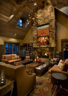Cabin Style Living Rooms-23-1 Kindesign