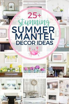 Home Improvement Projects, Home Projects, Summer Mantel, Stunning Summer, Fireplace Mantels, Mantle, Decor Ideas, Decorating Ideas, Summer Decorating