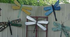 dragonflies made from re purposed materials