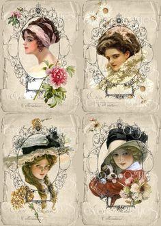 Vintage ladies with flowers postcard. Decoupage Vintage, Vintage Abbildungen, Images Vintage, Decoupage Paper, Vintage Labels, Vintage Ephemera, Vintage Pictures, Vintage Paper, Vintage Postcards