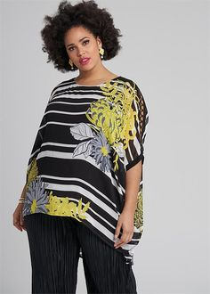Kiku Tunic - Shop Plus Sizes Plus Size Womens Clothing, Clothes For Women, Taking Shape, Floral Stripe, Tunic, How To Wear, Outfits, Shopping, Style