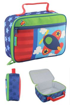 Stephen Joseph monogrammed lunch box airplane - Fun little lunch bag! Boys Lunch Boxes, Joseph, Little Lunch, Insulated Lunch Box, Stay Warm, Classic, Handmade, School Lunches, School Bags