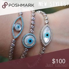 New Styles Just Listed!!! How would you rock these bracelets?  Which style is your favorite? •Sterling Silver Eye Adjustable Bracelet (Item number: BRH005A) •Sterling Silver Eye Adjustable Bracelet (Item number: BRH005B) •Sterling Silver Round Eye Adjustable Bracelet (Item number: BRH006)  Make sure to check out the other styles in our shop. These bracelets are perfect to mix, match and stack!   We offer a 15% bundle discount on 3 or more items :)   New merchandise. No trades. No holds…