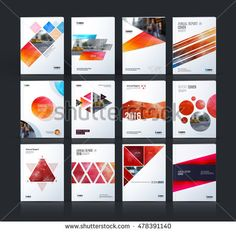 Brochure template layout, cover design annual report, magazine, flyer, leaflet in A4 with blue square, rhombus, circle, triangles, polygons with overlap effect for business and building. Vector set. - Shutterstock Premier