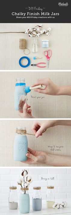 3 easy steps to kick start your fall décor with these jute wrapped chalk painted milk bottles / http://www.deerpearlflowers.com/diy-fall-wedding-decoration-ideas/