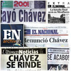 Así reseñaron en portada los hechos del 11 de abril de 2002 en los principales periódicos del país.