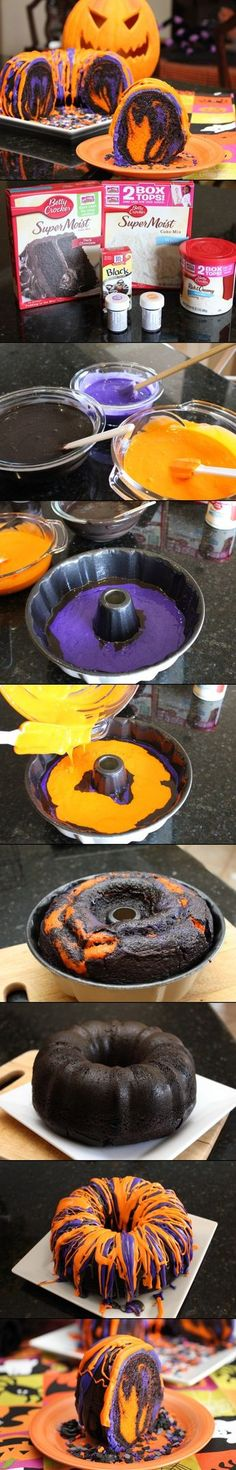 Orange & Purple & Black Pumpkin Cake, maybe use black food coloring instead of the chocolate cake for A?