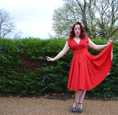 Miss Amy May's blog post on our Milan Dress in Red #HeartofHaute #HauteHoney #PInup #RedDress #VintageInspired #VIntageStyle #VintageBlog #PinupDress #MadeintheUSA