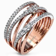 Simon G. 18K Rose Gold Multi-Layer Diamond Ring