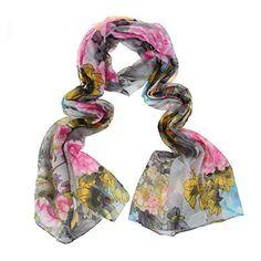6003daab77 I like this silk scarf. Priting Peony Silk Scarf Light Weight Long Chiffon Silk  Scarves