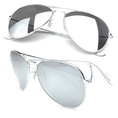 0eb0f4e818d Aviator Sunglasses Silver Frame Silver Mirror Lens 1104