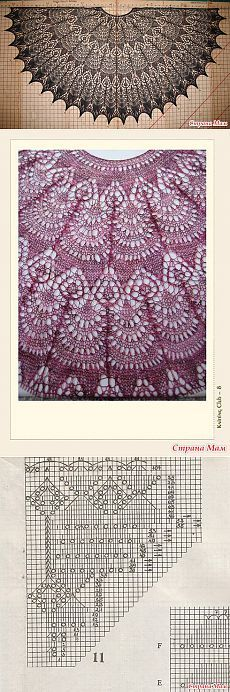 Crochet Patterns Lace On-line Shali 'Freya': The diary of the group 'ZAO Shalu … Lace Knitting Patterns, Shawl Patterns, Knitting Charts, Lace Patterns, Knitting Stitches, Knitting Designs, Free Knitting, Knitting Projects, Stitch Patterns