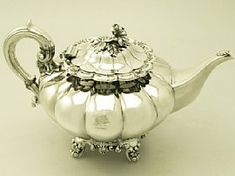Irish Sterling Silver Teapot -  Antique Victorian
