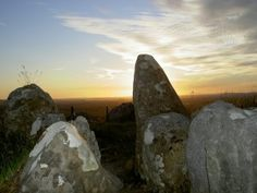 A summer solstice sunset at Loughcrew in Ireland, a megalithic burial ground dating back to approximately 3500 and 3300 BC.