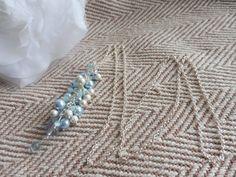 Light Blue Swarovski Pearl Cluster Lariat Necklace. Handmade jewellery. Something blue necklace. Long necklace. Winter wedding jewellery by HazelsWeddingShop on Etsy