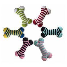 Crochet Striped Bone Dog Toy
