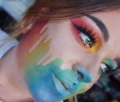 48 Pretty Rainbow Makeup Ideas - Body Art Make Up - Unique Halloween Makeup, Scary Halloween, Clown Makeup, Sfx Makeup, Makeup Tips, Eyeliner Makeup, Costume Makeup, Makeup Products, Creative Makeup Looks