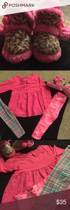Toddler Complete Set Toddler Complete Set: Included (1) Size 4T Long Sleeve Top, (2) Size 3T Leggings and (1) Pair of Leopard and Pink Size 5/6 Slippers. The Top and Leggings are New w Tags, Slippers are Used but APPEAR to be NEW as the have NO Defects Other