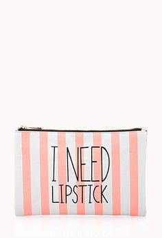 I Need Lipstick Small Cosmetic Pouch | FOREVER21 - 1000126816 #ForeverHoliday #Forever21 #F21