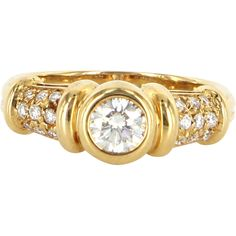Vintage Bulgari Diamond 18 Karat Yellow Gold Band Ring Signed Fine Designer Jewelry