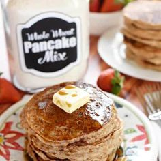 Whip up a breakfast of fluffy, homemade, whole wheat buttermilk pancakes in a matter of minutes with this all-natural Whole Wheat Pancake Mix! Easy Pancake Mix, Pancakes Easy, Buttermilk Pancakes, Whole Wheat Pancakes, Cooking Temperatures, Pure Maple Syrup, Quick And Easy Breakfast, Baking Soda, Food To Make