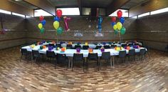 Hall set up for a kids' party. Hosting a reception? We have two halls so why not set one up for the kids? There's space for a bouncy castle both indoors and out plus access to our lovely gardens. Got Married, Getting Married, Bouncy Castle, Party Venues, Christening, Reception, Gardens, Weddings, Space