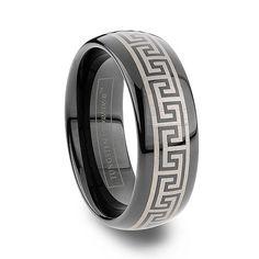 Tungsten Rings & Tungsten Wedding OFF) Men's Tungsten Carbide Black Tungsten Rings, Tungsten Carbide Rings, Tungsten Wedding Bands, Wedding Ring Bands, Camo Rings, Greek Pattern, Laser Engraving, Rings For Men, Wedding Stuff