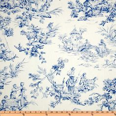 Screen printed on cotton this medium weight fabric is very versatile. This fabric is perfect for window treatments (draperies, valances, curtains, and swags), bed skirts, duvet covers, pillow shams, accent pillows, tote bags, aprons, slipcovers and upholstery. Colors include cobalt blue on an ivory background.