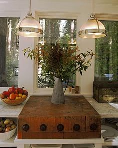 Tyler Florence's Kitchen - vintage butcher block built into the kitchen counter top