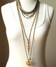 Sheer Addiction layered necklaces.