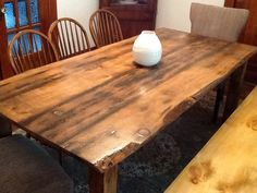 Harvest table built with 200 year old barn wood that has some pretty sweet live edges. 7 feet by 40 inches by 30 inches. Lots of character!