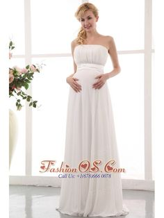 White Empire Strapless Maternity Wedding Dress Floor-length Chiffon Ruch  http://www.facebook.com/quinceaneradress.fashionos.us  www.fashionos.com  This chic style comprised of a pleated strapless bodice with a pleated wide waistband that flatters your slim lines ideally. The pleats from waist runs to the very end of the exclusive empire skirt with fold accents. The back completes the fabulous look with a zipper. You can move and dance comfortably and freely in this flowy dress!