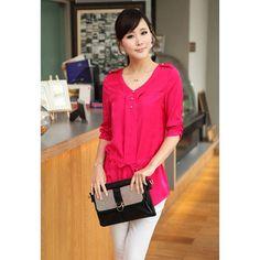 Women's Fashionable Ruffle Three Quarter Sleeves V-Neck Cotton+Polyester Shirt, ROSE, XL in Blouses | DressLily.com
