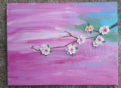 Cherry Blossoms by TheCanvasAndCoffee on Etsy.  Acrylic painting,  for sale, pink, art