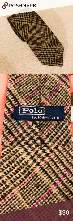 Polo Ralph Lauren Tan, Pink & Brown Plaid Wool Tie Polo Ralph Lauren Tan, Brown and Pink Plaid Wool Necktie! Great condition! Please make reasonable offers and bundle! Ask questions! Polo by Ralph Lauren Accessories Ties