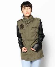 Hysteric Glamour faux leather sleeves military shirt jacket