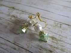 Light Green Crystal Earrings White Pearl by BrownBeaverBeadery, $12.00