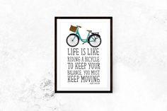 Life Is Like Riding A Bicycle //  Motivational Print, Inspirational Print, Typography, Bike, Albert Einstein, Wall Decor, Home Decor, Art