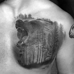 Growling Bear In Forest Shaded Upper Chest Sweet Tattoos For Men