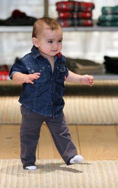 Baby Mason Disick, son of Kourtney #Kardashian, dressed in a #DKNY denim shirt @dkny pr girl
