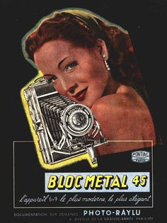 Publicité pour l'appareil Bloc Métal 45, du fabricant français Pontiac. Publication en 1941 dans la revue Photo Cinéma.